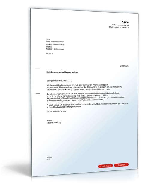 beschwerde ueber hausverwaltung muster vorlage zum