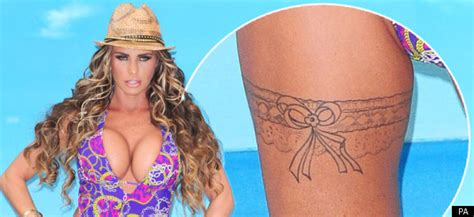 katie price shows   thigh tattoo  launch