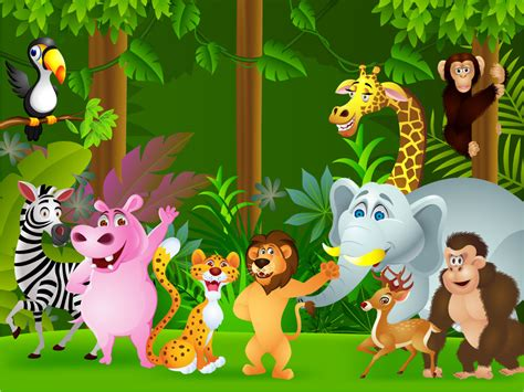 Animated Jungle Wallpaper - animals of the jungle children s wall mural ohpopsi