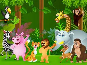 Animals Of The Jungle Cartoon Children's Wall Mural | ohpopsi