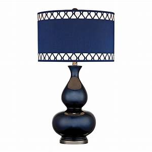 navy blue gourd table lamp with laser cut trim shade With blue lamp and light shade