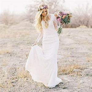 lace long sleeves bohemian wedding dress beach wedding With bohemian beach style wedding dresses