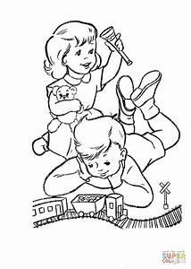 coloriage enfants qui jouent avec leurs nouveaux jouets With the colorplay