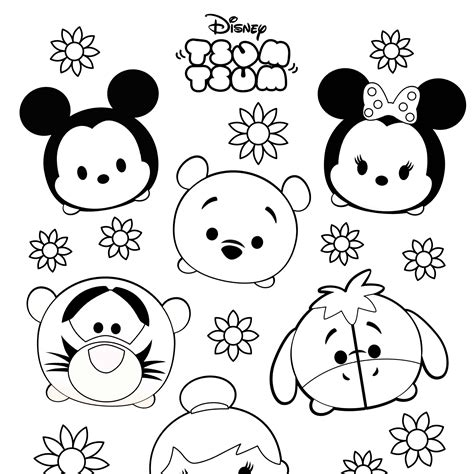 tsum tsum colouring sheets  printable printables