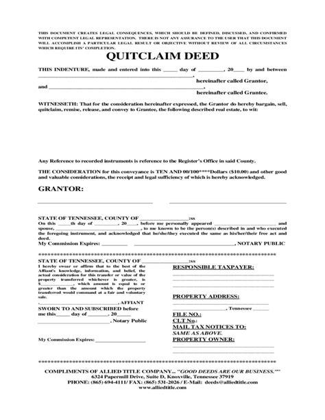 quitclaim deed template tennessee