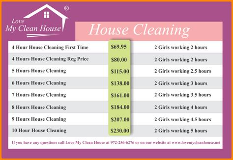 cleaning services price list template cleaning price list template 7 service price list memo templates wevo