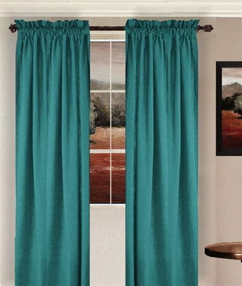 solid teal colored window long curtain