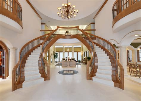 dual staircase in grand foyer luxury homes foyers staircases and grand entrance