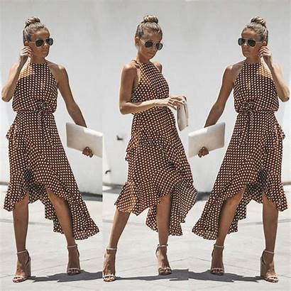 Dresses Polka Dot Lace Halter Sleeveless Brown