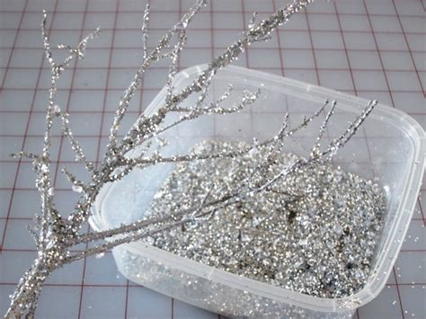 holiday decorating making sparkly branches