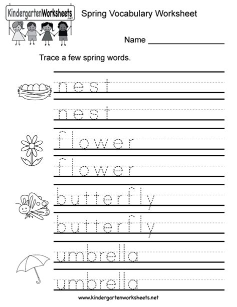 spring vocabulary worksheet free kindergarten seasonal