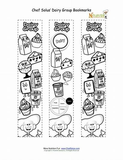 Groups Coloring Nutrition Dairy Bookmarks Activity Printable