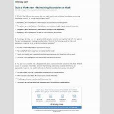 Quiz & Worksheet  Maintaining Boundaries At Work Studycom
