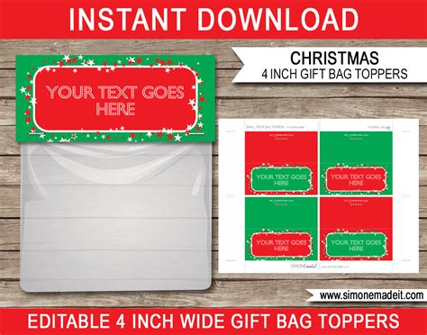 tags for gift bags template gift bag toppers printable gift tags