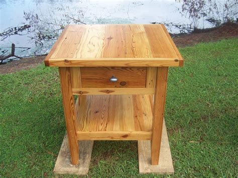 hand crafted antique heart pine side table   southern