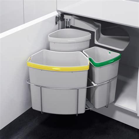 poubelle cuisine encastrable sous evier poubelle tri sélectif pivotante 3 bacs 39 litres