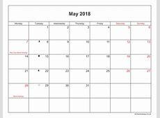 May 2018 Calendar Printable with Bank Holidays UK