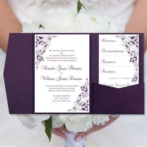 diy pocketfold wedding invitations quot gianna quot eggplant