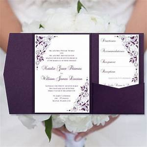 Diy pocketfold wedding invitations quotgiannaquot eggplant for Printed pocketfold wedding invitations