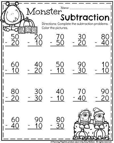 october  grade worksheets  images  grade