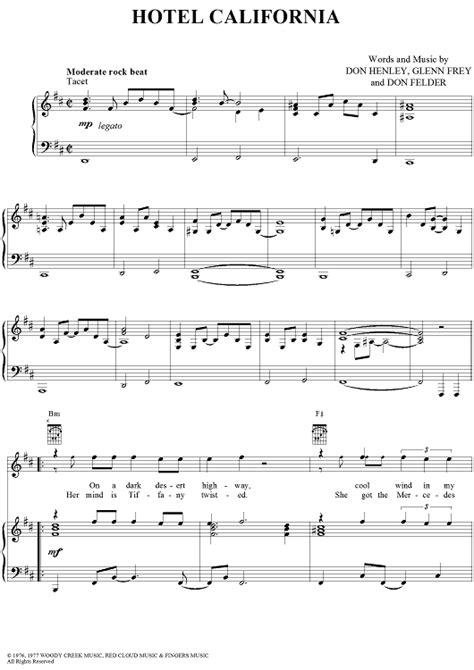 Hotel California Sheet Music By Eagles  Hotel California, Sheet Music And Pianos
