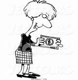Cash Coloring Bonus Cartoon Outline Holding Businesswoman Toonaday sketch template