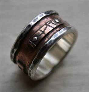 Mens wide band ring rustic fine silver and copper oxidized for Cool wedding rings men