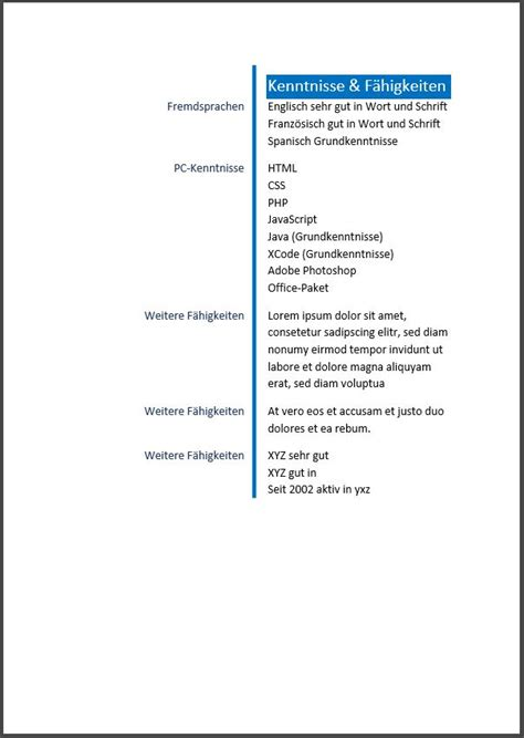 Einfache Lebenslauf Vorlage by Lebenslauf Muster Vorlage 5 Bewerbungswissen Net