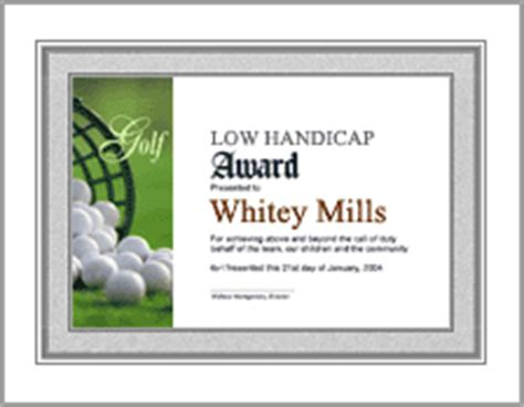 golf awards certificate template printable golf