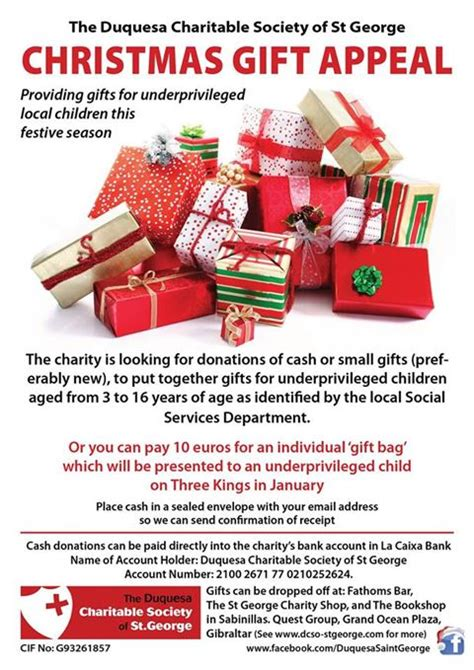 christmas gift donation charity gift appeal extended to include children in casares and estepona