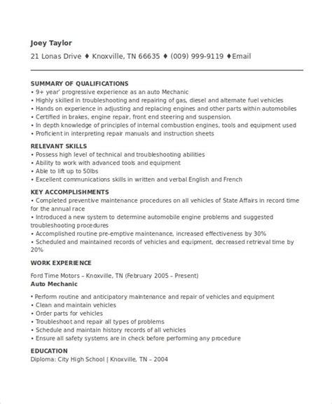 Mechanic Resume Template auto mechanic resume template resume sle