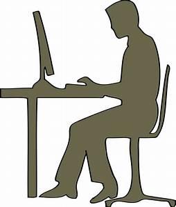 Sagoma Dell U0026 39 Uomo Seduto Al Computer Scrivania Vector Clip
