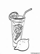 Lemonade Coloring Pages Sketch Pitcher Stand Drawing Printable Cup Drinks Drink Template Food sketch template