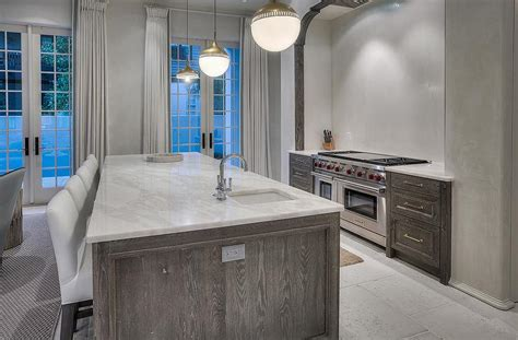 gray wire brushed cabinets transitional kitchen