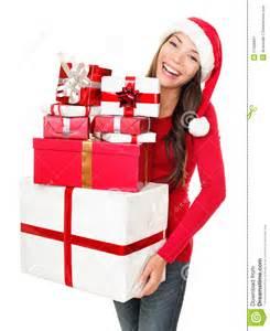asian christmas santa woman shopping gifts stock image image 21209891