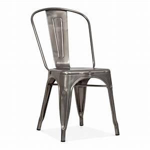 Chaise Metal Tolix : tolix style gunmetal steel industrial side chair cult furniture ~ Teatrodelosmanantiales.com Idées de Décoration