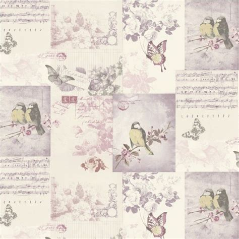 shabby chic bird wallpaper shabby chic vintage bird cage wallpaper mauve blue pink patchwork love letters vintage bird