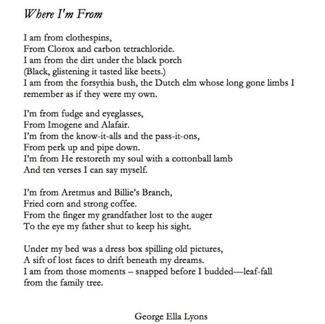 where i m from poem template george ella lyon aims for a poem from every county with where i m from writing project