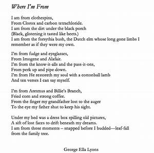 george ella lyon aims for 39a poem from every county39 with With where i am from poem template