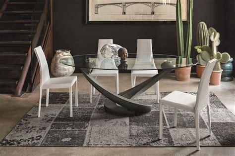 tavoli moderni design tavolo ovale con piano in vetro per cucina moderna idfdesign