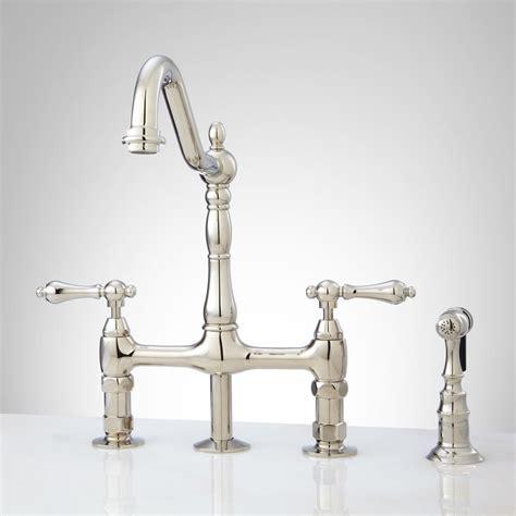 Bellevue Bridge Kitchen Faucet with Brass Sprayer   Lever