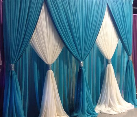 Wedding Pipe And Drape - classic teal and white sheer backdrop by oc brides www