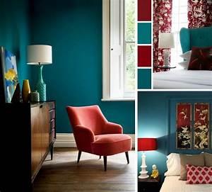 Meuble Bleu Canard : d co salon chambre bleu canard rouge cardinal et blanc avec meubles et d co en styles var ~ Teatrodelosmanantiales.com Idées de Décoration