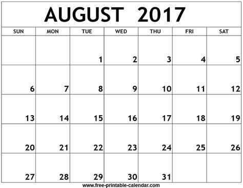 august calendar template august 2017 printable calendar monthly calendar template