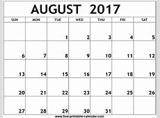 August 2017 Printable Calendar monthly calendar template
