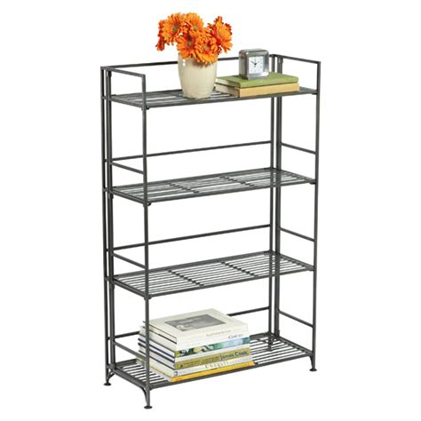 container store folding bookcase 4 shelf iron folding bookcase the container store