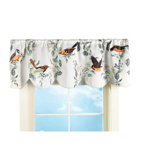 Kitchen Curtains And Valances Ideas - spring birds on branches rod pocket window curtain valance with scalloped edge ebay