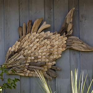 Bois Flotté Décoration Murale : d coration murale poisson en bois flott containers du monde ~ Melissatoandfro.com Idées de Décoration