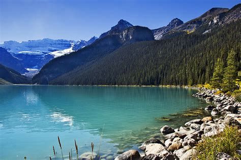 Canada Scenery Lake Mountains Forests Stones Lake