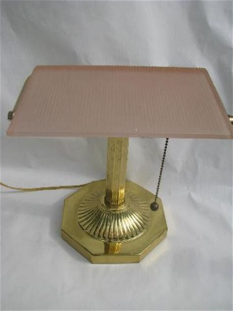 bankers l with green shade solid brass solid brass banker s light desk l frosted pink glass shade